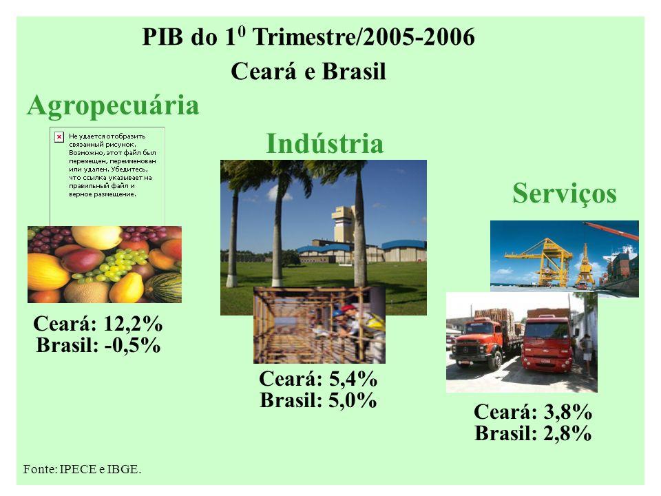 Ceará: 12,2% Brasil: -0,5% Agropecuária Serviços Ceará: 3,8% Brasil: 2,8% Ceará: 5,4% Brasil: 5,0% Indústria Fonte: IPECE e IBGE.