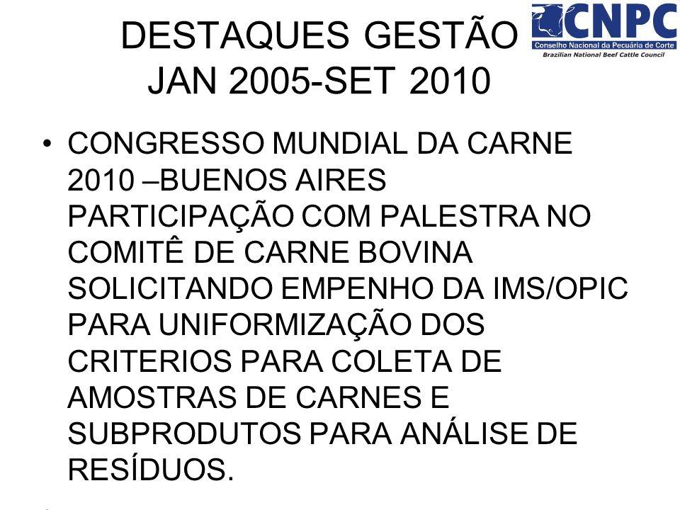 CONGRESSO MUNDIAL DA CARNE 2010 –BUENOS AIRES PARTICIPAÇÃO COM PALESTRA NO COMITÊ DE CARNE BOVINA SOLICITANDO EMPENHO DA IMS/OPIC PARA UNIFORMIZAÇÃO D
