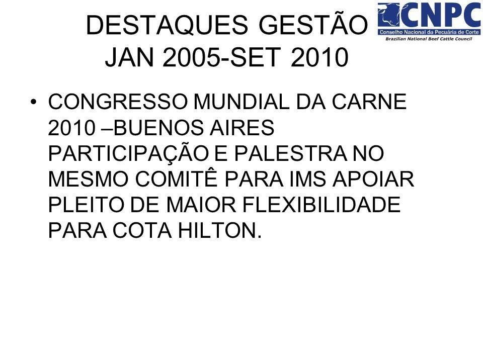 CONGRESSO MUNDIAL DA CARNE 2010 –BUENOS AIRES PARTICIPAÇÃO E PALESTRA NO MESMO COMITÊ PARA IMS APOIAR PLEITO DE MAIOR FLEXIBILIDADE PARA COTA HILTON.