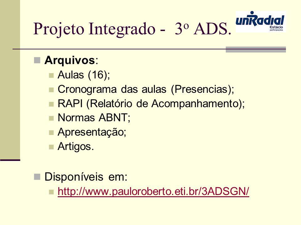 Projeto Integrado - 3 o ADS. Arquivos: Aulas (16); Cronograma das aulas (Presencias); RAPI (Relatório de Acompanhamento); Normas ABNT; Apresentação; A