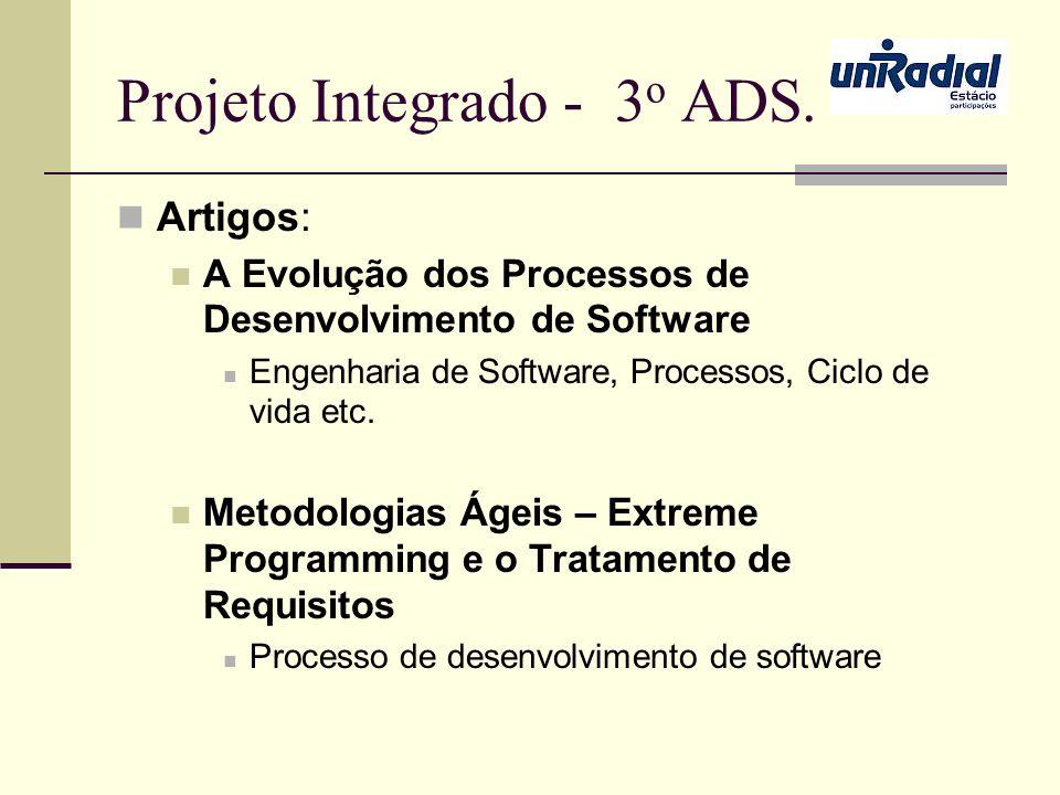 Projeto Integrado - 3 o ADS. Artigos: A Evolução dos Processos de Desenvolvimento de Software Engenharia de Software, Processos, Ciclo de vida etc. Me