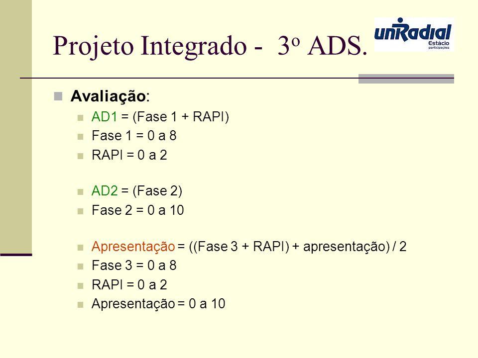 Projeto Integrado - 3 o ADS. Avaliação: AD1 = (Fase 1 + RAPI) Fase 1 = 0 a 8 RAPI = 0 a 2 AD2 = (Fase 2) Fase 2 = 0 a 10 Apresentação = ((Fase 3 + RAP