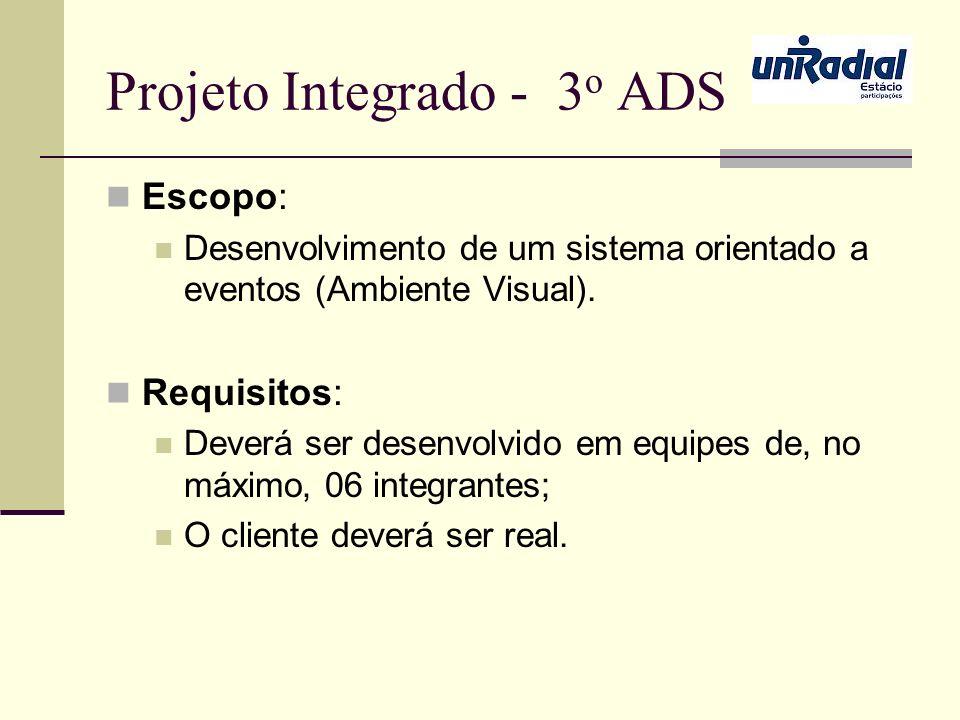 Projeto Integrado - 3 o ADS Escopo: Desenvolvimento de um sistema orientado a eventos (Ambiente Visual). Requisitos: Deverá ser desenvolvido em equipe