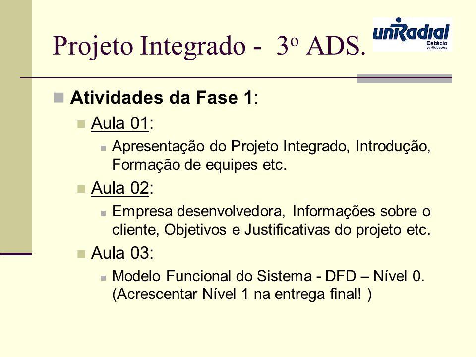 Projeto Integrado - 3 o ADS. Atividades da Fase 1: Aula 01: Apresentação do Projeto Integrado, Introdução, Formação de equipes etc. Aula 02: Empresa d