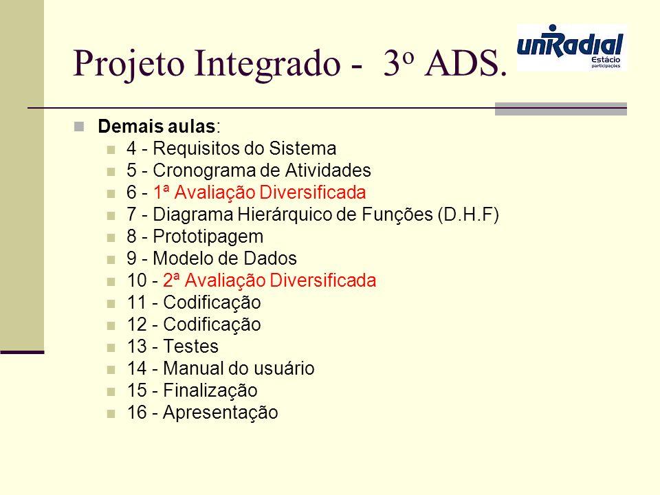 Projeto Integrado - 3 o ADS. Demais aulas: 4 - Requisitos do Sistema 5 - Cronograma de Atividades 6 - 1ª Avaliação Diversificada 7 - Diagrama Hierárqu