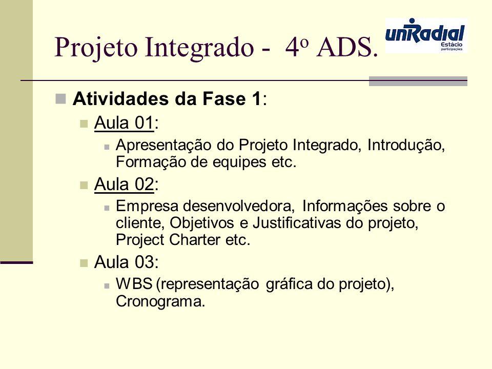 Projeto Integrado - 4 o ADS. Atividades da Fase 1: Aula 01: Apresentação do Projeto Integrado, Introdução, Formação de equipes etc. Aula 02: Empresa d
