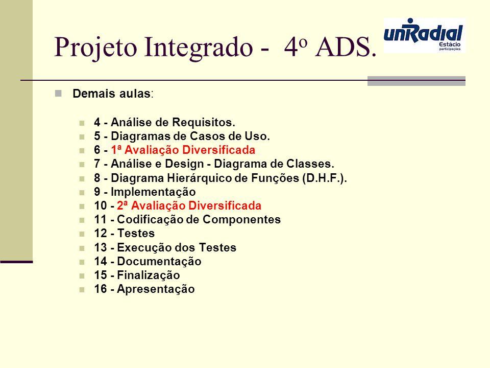 Projeto Integrado - 4 o ADS. Demais aulas: 4 - Análise de Requisitos. 5 - Diagramas de Casos de Uso. 6 - 1ª Avaliação Diversificada 7 - Análise e Desi