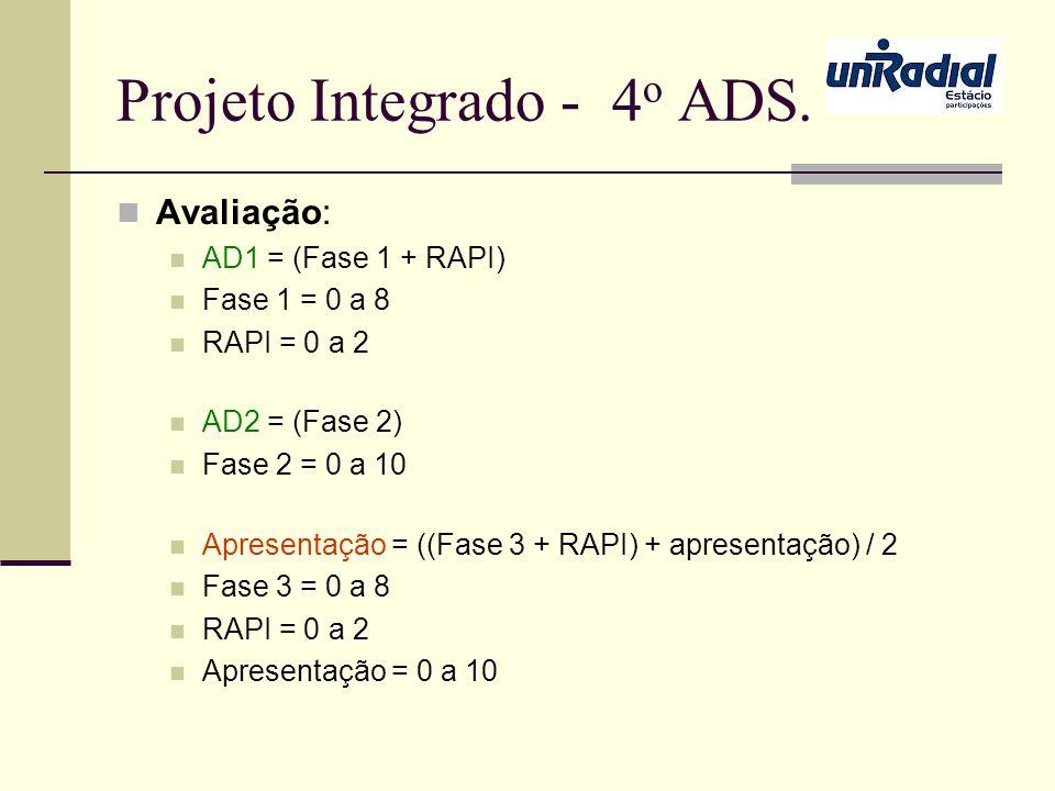 Projeto Integrado - 4 o ADS. Avaliação: AD1 = (Fase 1 + RAPI) Fase 1 = 0 a 8 RAPI = 0 a 2 AD2 = (Fase 2) Fase 2 = 0 a 10 Apresentação = ((Fase 3 + RAP