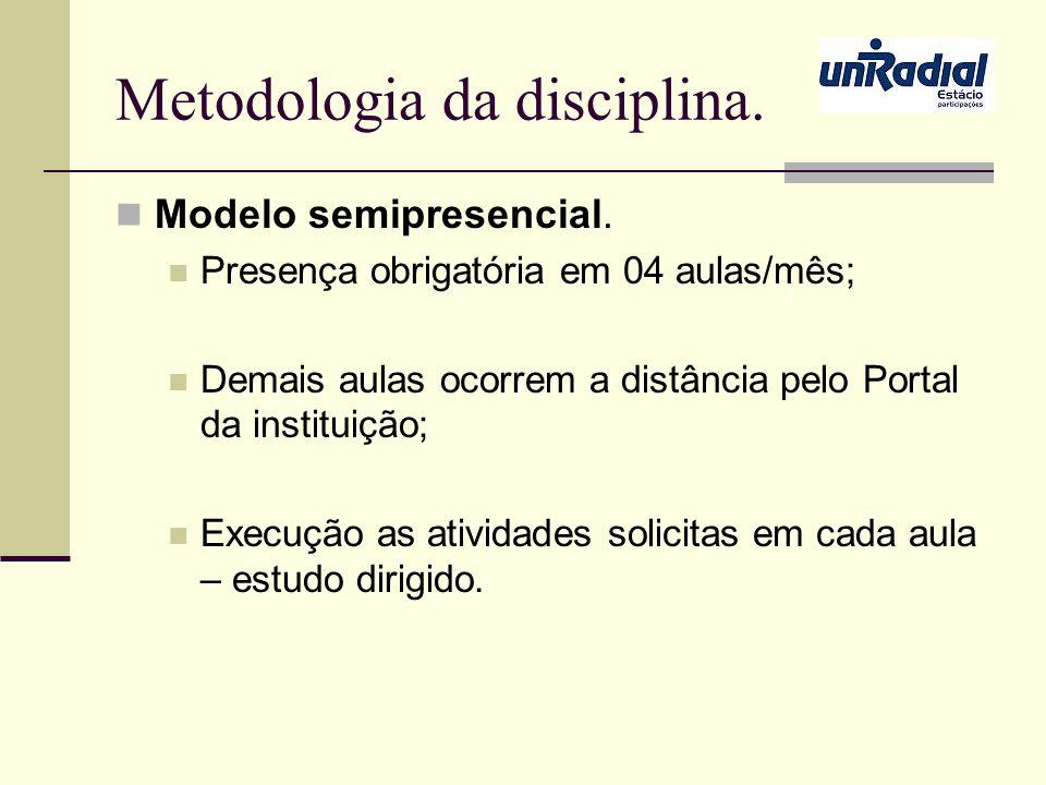 Metodologia da disciplina. Modelo semipresencial. Presença obrigatória em 04 aulas/mês; Demais aulas ocorrem a distância pelo Portal da instituição; E