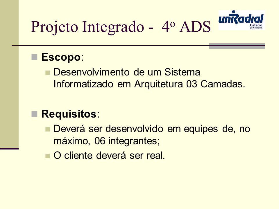 Projeto Integrado - 4 o ADS Escopo: Desenvolvimento de um Sistema Informatizado em Arquitetura 03 Camadas. Requisitos: Deverá ser desenvolvido em equi