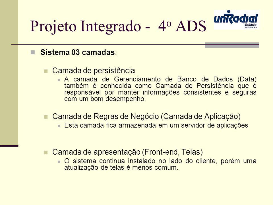 Projeto Integrado - 4 o ADS Sistema 03 camadas: Camada de persistência A camada de Gerenciamento de Banco de Dados (Data) também é conhecida como Cama