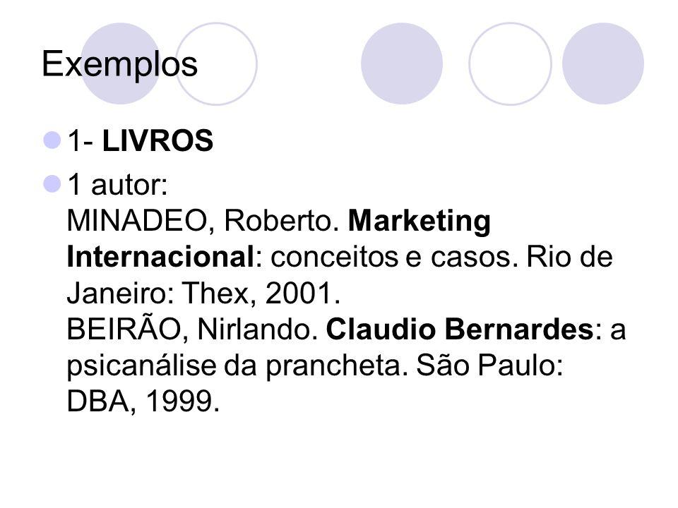 Exemplos 1- LIVROS 1 autor: MINADEO, Roberto. Marketing Internacional: conceitos e casos. Rio de Janeiro: Thex, 2001. BEIRÃO, Nirlando. Claudio Bernar
