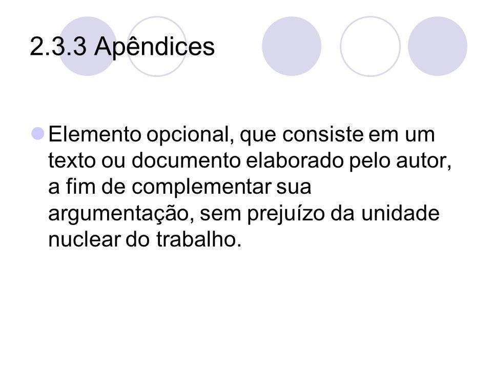 2.3.3 Apêndices Elemento opcional, que consiste em um texto ou documento elaborado pelo autor, a fim de complementar sua argumentação, sem prejuízo da