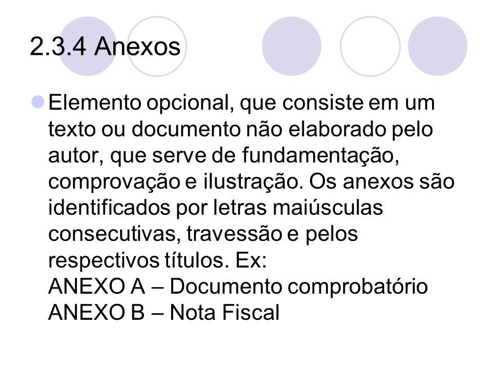 2.3.4 Anexos Elemento opcional, que consiste em um texto ou documento não elaborado pelo autor, que serve de fundamentação, comprovação e ilustração.