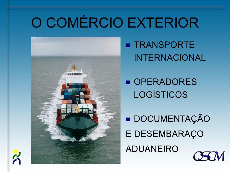 O COMÉRCIO EXTERIOR TRANSPORTE INTERNACIONAL OPERADORES LOGÍSTICOS DOCUMENTAÇÃO E DESEMBARAÇO ADUANEIRO