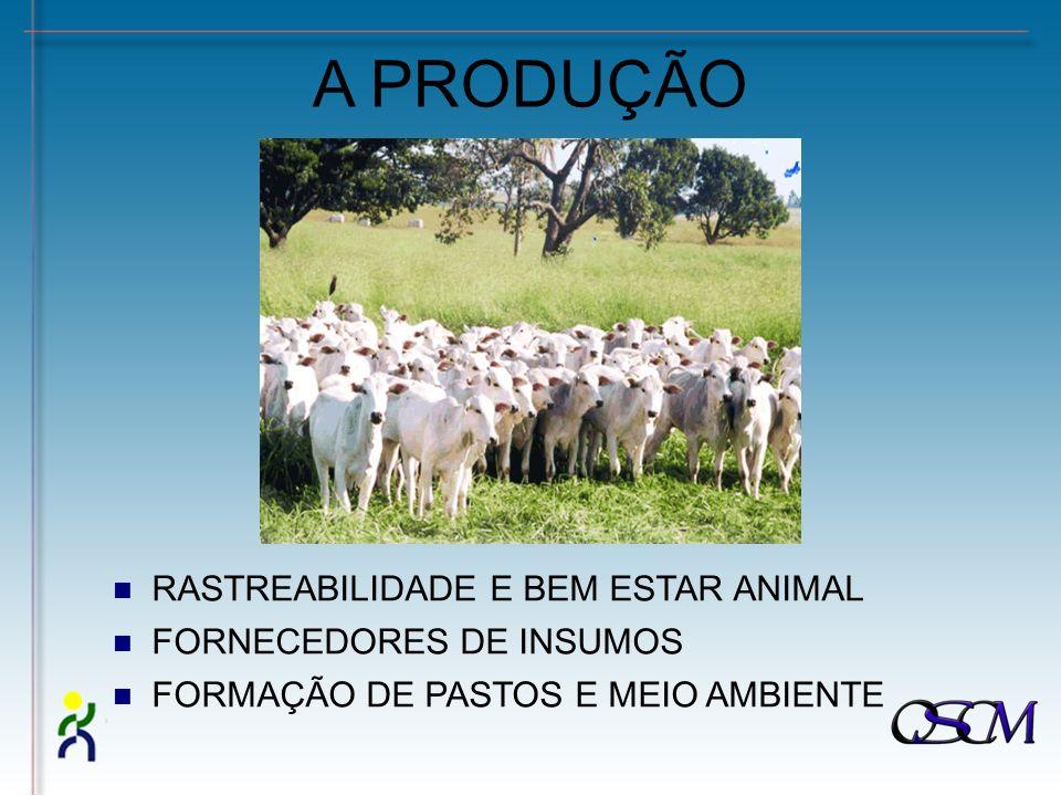 A PRODUÇÃO RASTREABILIDADE E BEM ESTAR ANIMAL FORNECEDORES DE INSUMOS FORMAÇÃO DE PASTOS E MEIO AMBIENTE