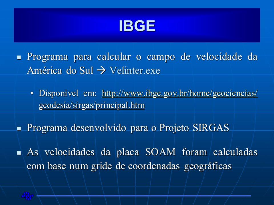 IBGE Programa para calcular o campo de velocidade da América do Sul Velinter.exe Programa para calcular o campo de velocidade da América do Sul Velint