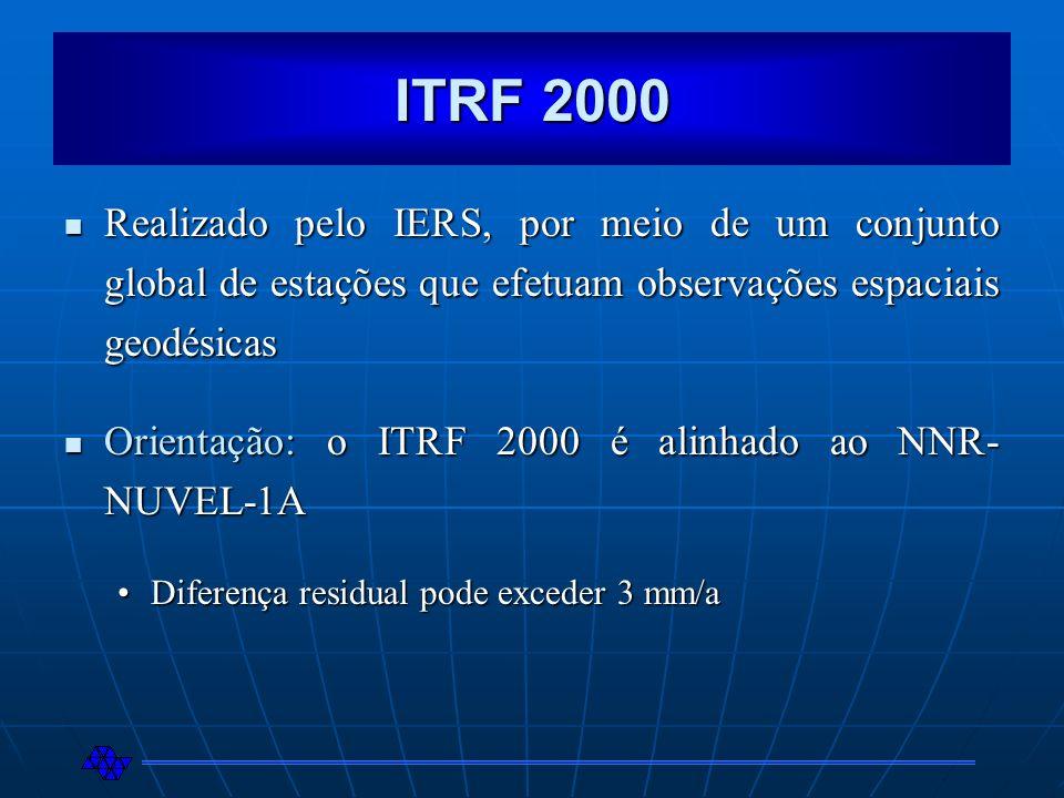 ITRF 2000 Realizado pelo IERS, por meio de um conjunto global de estações que efetuam observações espaciais geodésicas Realizado pelo IERS, por meio d