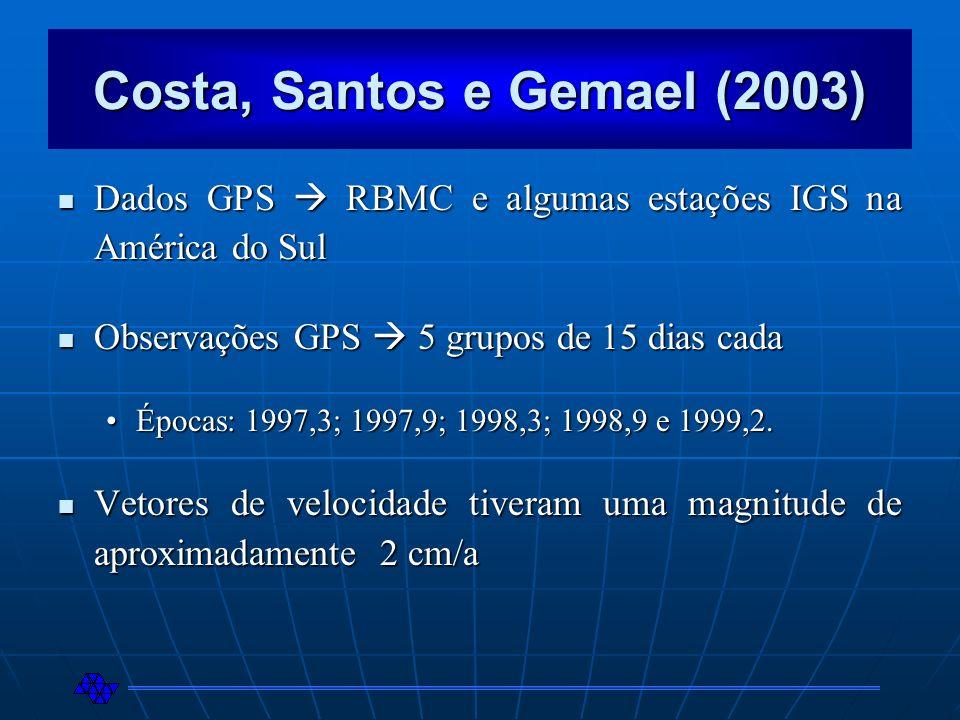 Costa, Santos e Gemael (2003) Dados GPS RBMC e algumas estações IGS na América do Sul Dados GPS RBMC e algumas estações IGS na América do Sul Observaç