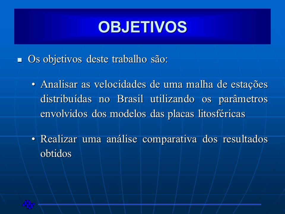 OBJETIVOS Os objetivos deste trabalho são: Os objetivos deste trabalho são: Analisar as velocidades de uma malha de estações distribuídas no Brasil ut