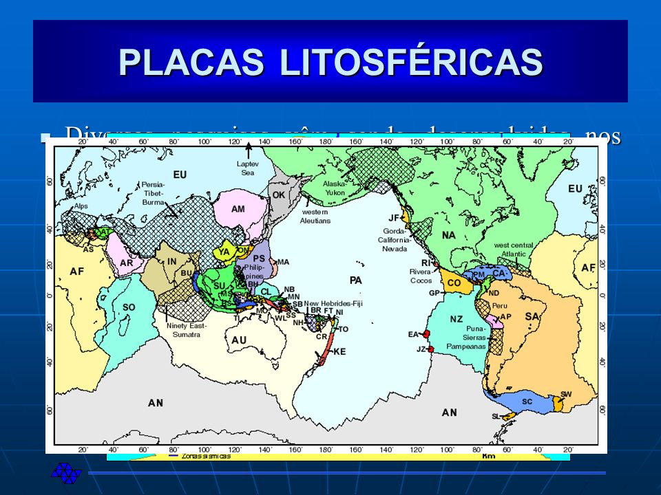 PLACAS LITOSFÉRICAS Diversas pesquisas vêm sendo desenvolvidas nos últimos anos com relação às placas litosféricas Diversas pesquisas vêm sendo desenv