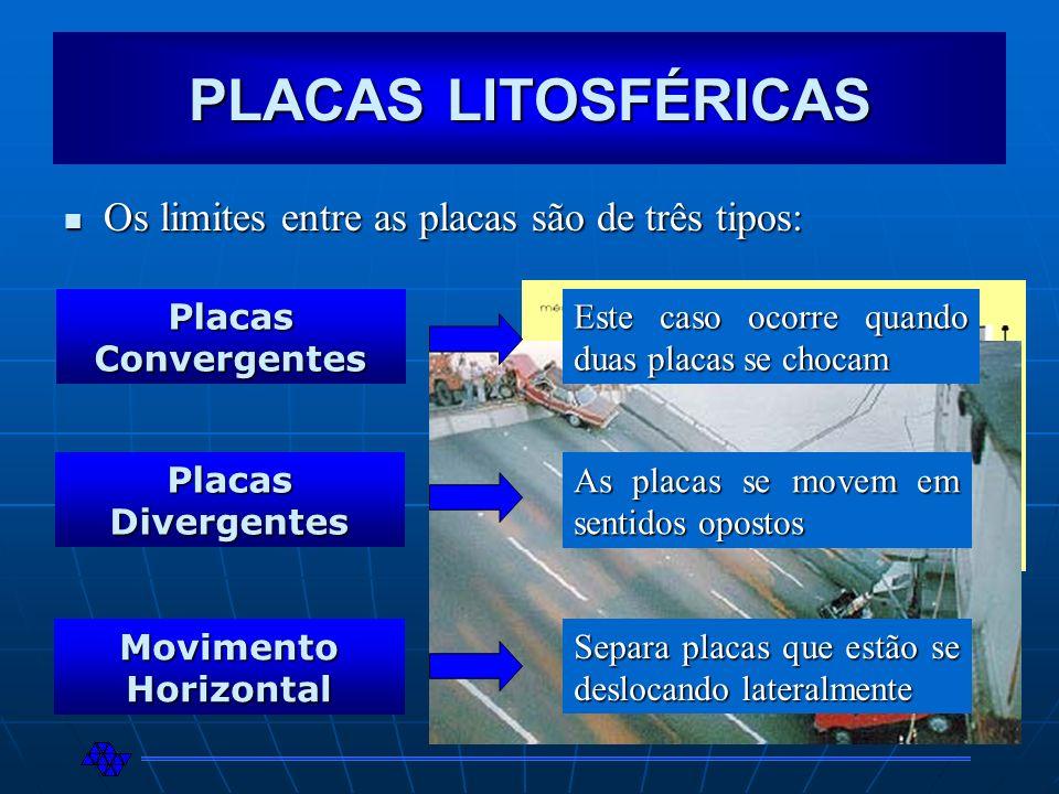 PLACAS LITOSFÉRICAS Os limites entre as placas são de três tipos: Os limites entre as placas são de três tipos: Placas Convergentes Placas Divergentes