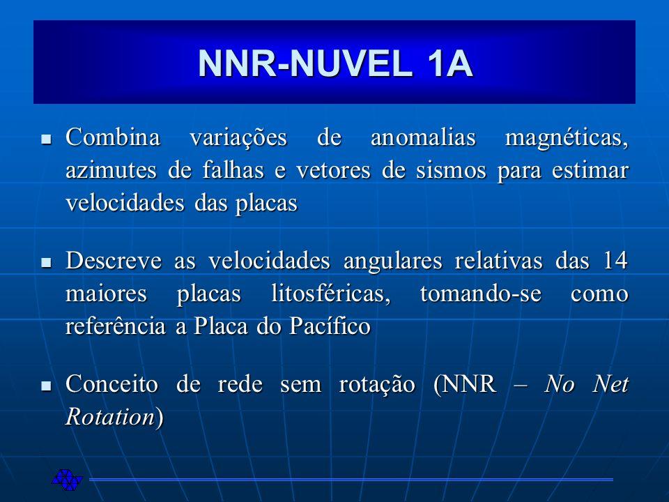 NNR-NUVEL 1A Combina variações de anomalias magnéticas, azimutes de falhas e vetores de sismos para estimar velocidades das placas Combina variações d