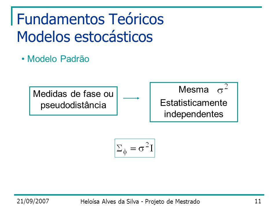21/09/2007 Heloísa Alves da Silva - Projeto de Mestrado 11 Fundamentos Teóricos Modelos estocásticos Modelo Padrão Medidas de fase ou pseudodistância