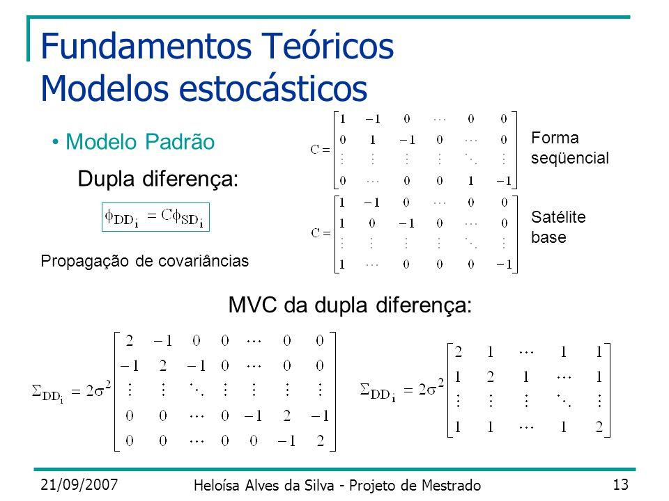 21/09/2007 Heloísa Alves da Silva - Projeto de Mestrado 13 Fundamentos Teóricos Modelos estocásticos Modelo Padrão Dupla diferença: Propagação de cova