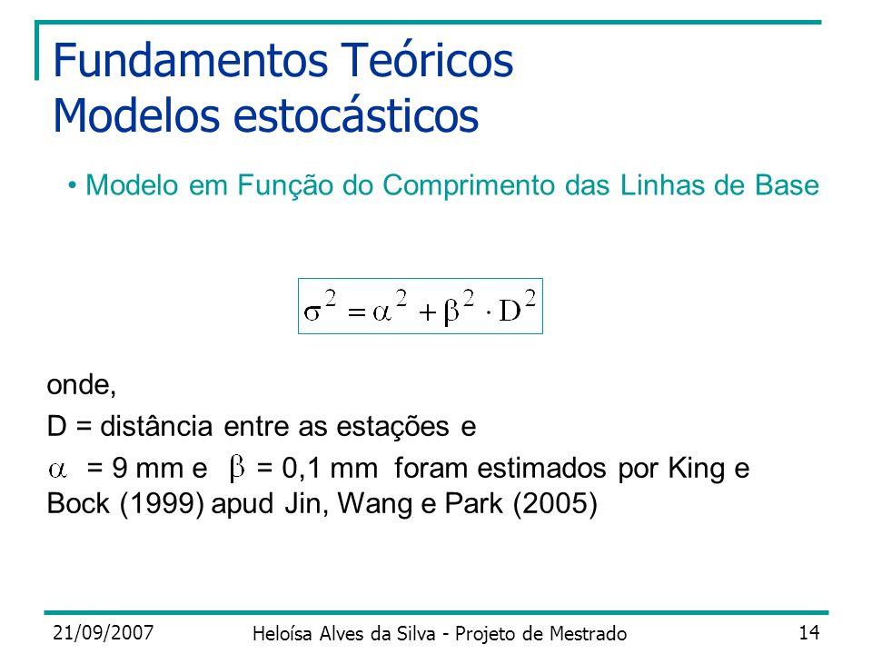 21/09/2007 Heloísa Alves da Silva - Projeto de Mestrado 14 Fundamentos Teóricos Modelos estocásticos onde, D = distância entre as estações e = 9 mm e