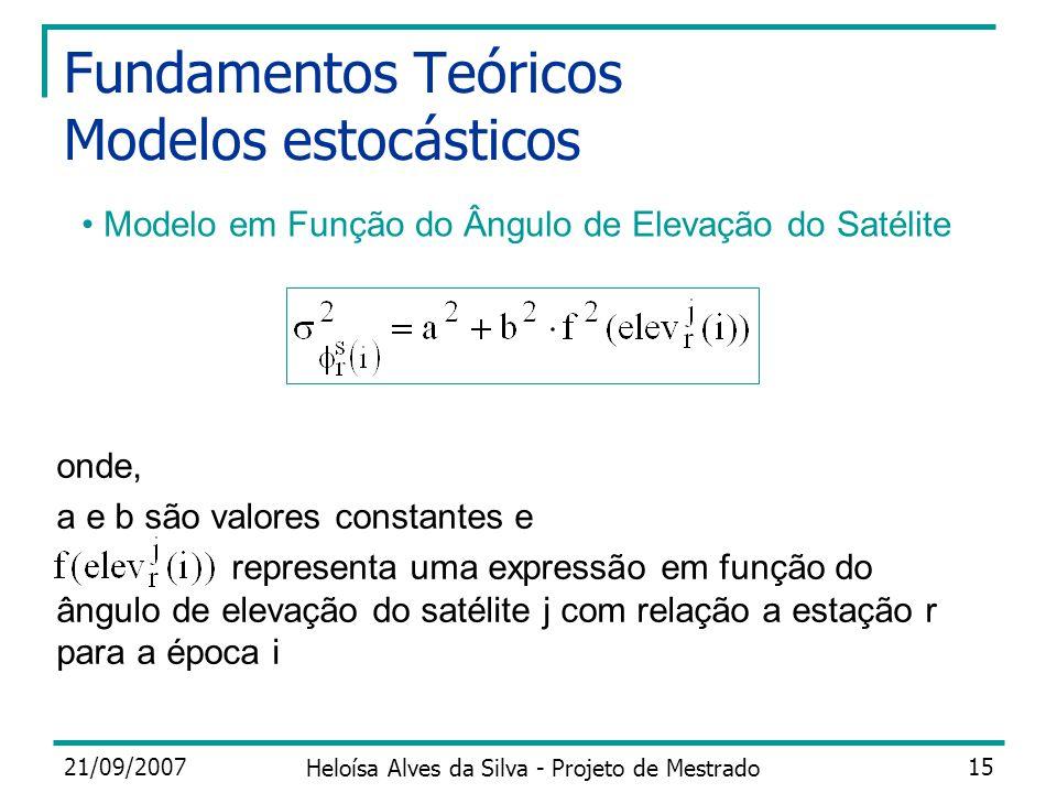 21/09/2007 Heloísa Alves da Silva - Projeto de Mestrado 15 Fundamentos Teóricos Modelos estocásticos onde, a e b são valores constantes e representa u
