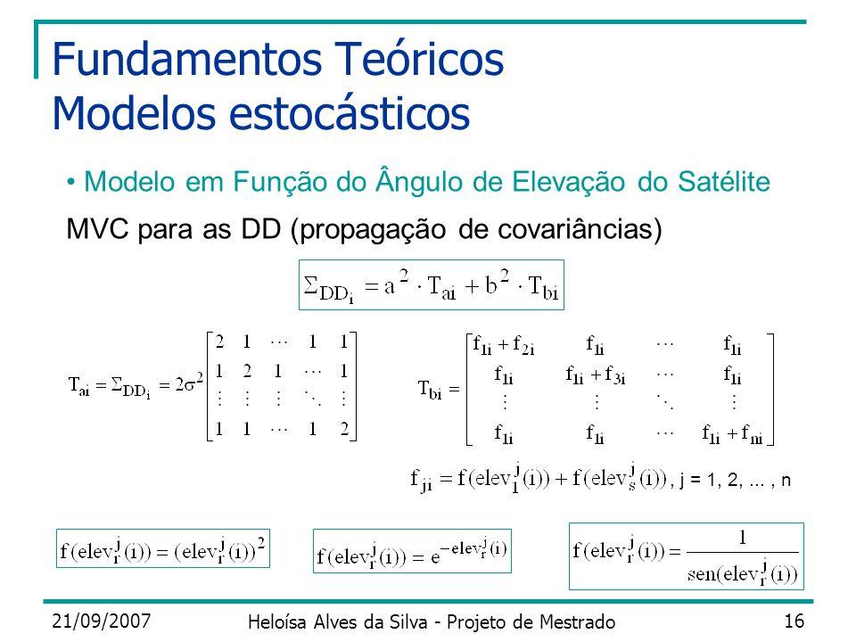 21/09/2007 Heloísa Alves da Silva - Projeto de Mestrado 16 Fundamentos Teóricos Modelos estocásticos MVC para as DD (propagação de covariâncias) Model