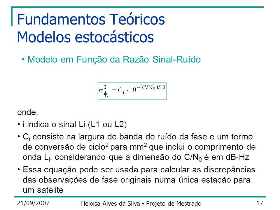 21/09/2007 Heloísa Alves da Silva - Projeto de Mestrado 17 Fundamentos Teóricos Modelos estocásticos onde, i indica o sinal Li (L1 ou L2) C i consiste