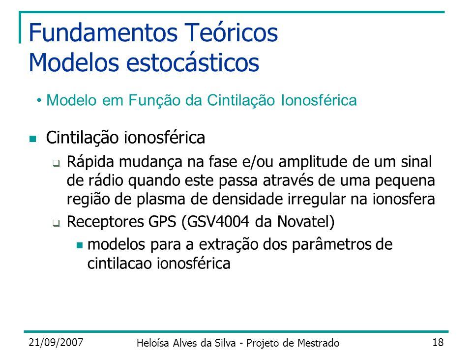 21/09/2007 Heloísa Alves da Silva - Projeto de Mestrado 18 Fundamentos Teóricos Modelos estocásticos Modelo em Função da Cintilação Ionosférica Cintil