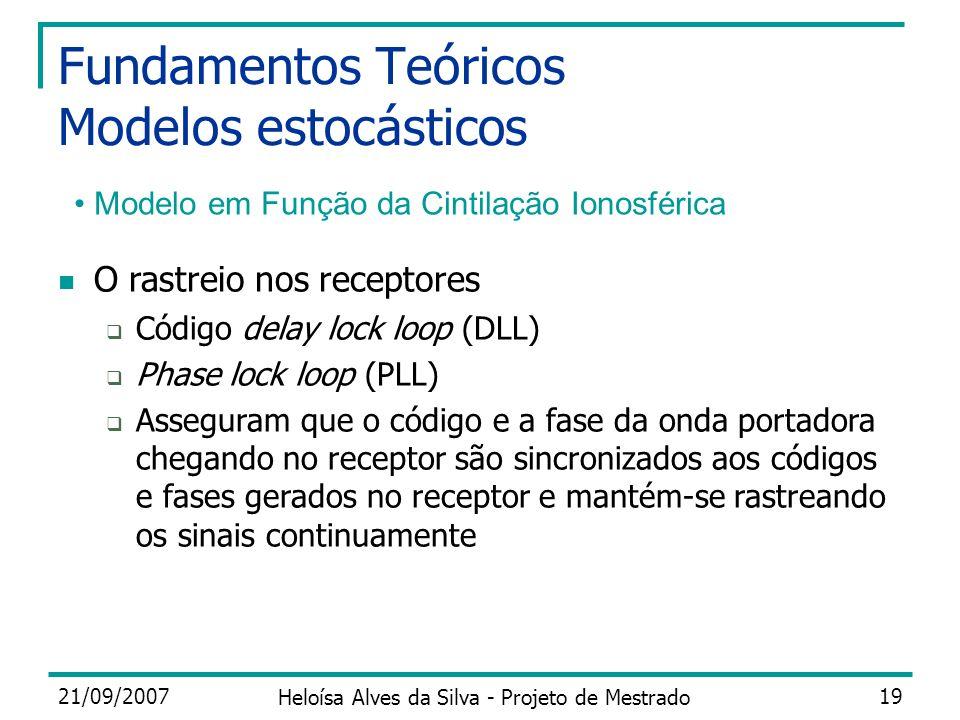 21/09/2007 Heloísa Alves da Silva - Projeto de Mestrado 19 Fundamentos Teóricos Modelos estocásticos Modelo em Função da Cintilação Ionosférica O rast