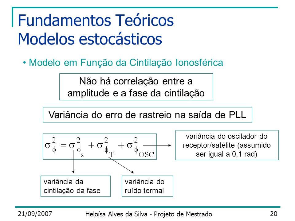 21/09/2007 Heloísa Alves da Silva - Projeto de Mestrado 20 Fundamentos Teóricos Modelos estocásticos Modelo em Função da Cintilação Ionosférica Variân