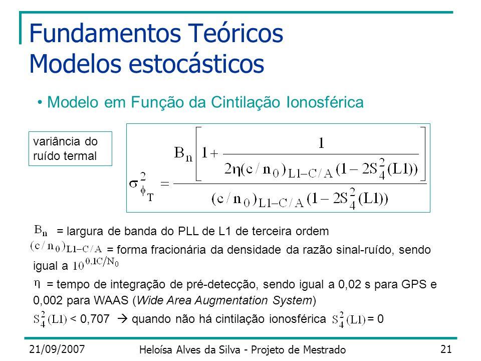 21/09/2007 Heloísa Alves da Silva - Projeto de Mestrado 21 Fundamentos Teóricos Modelos estocásticos Modelo em Função da Cintilação Ionosférica = larg