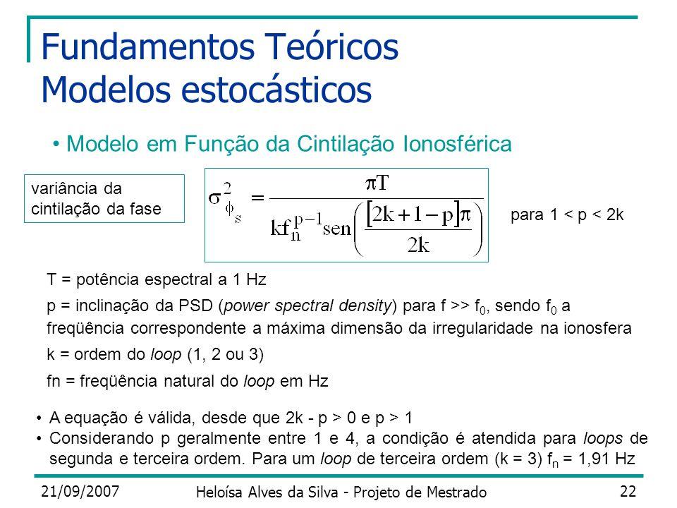 21/09/2007 Heloísa Alves da Silva - Projeto de Mestrado 22 Fundamentos Teóricos Modelos estocásticos Modelo em Função da Cintilação Ionosférica T = po