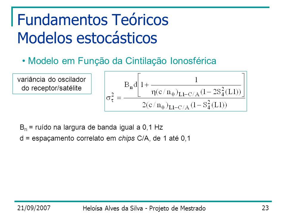 21/09/2007 Heloísa Alves da Silva - Projeto de Mestrado 23 Fundamentos Teóricos Modelos estocásticos Modelo em Função da Cintilação Ionosférica B n =