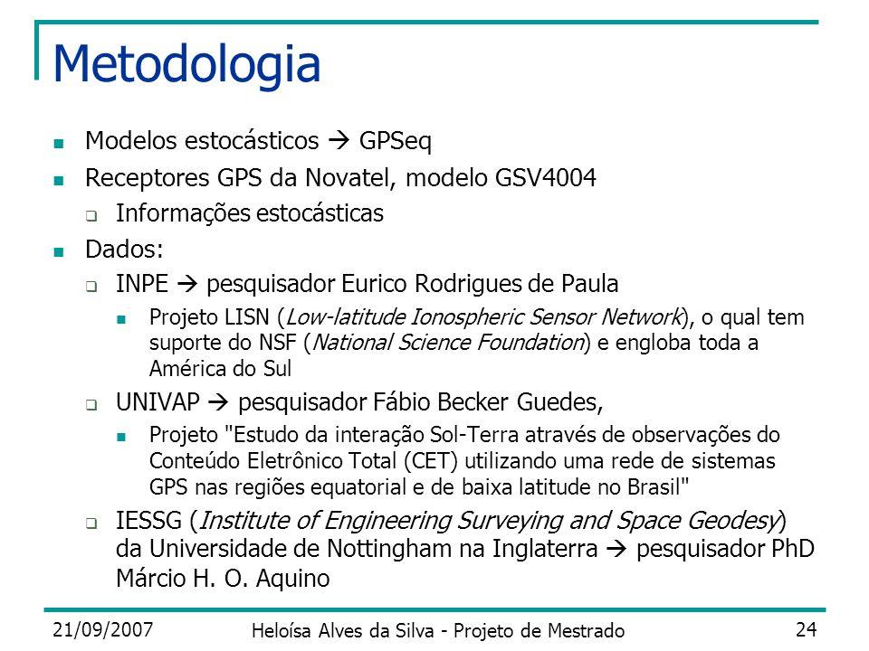 21/09/2007 Heloísa Alves da Silva - Projeto de Mestrado 24 Metodologia Modelos estocásticos GPSeq Receptores GPS da Novatel, modelo GSV4004 Informaçõe