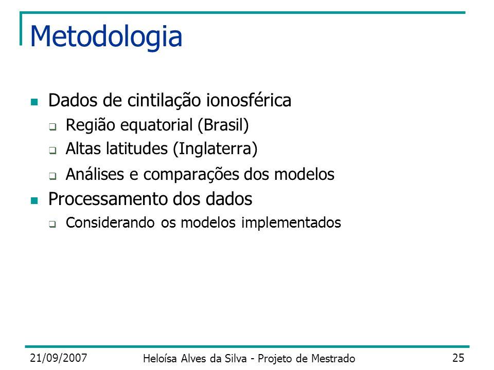 21/09/2007 Heloísa Alves da Silva - Projeto de Mestrado 25 Metodologia Dados de cintilação ionosférica Região equatorial (Brasil) Altas latitudes (Ing