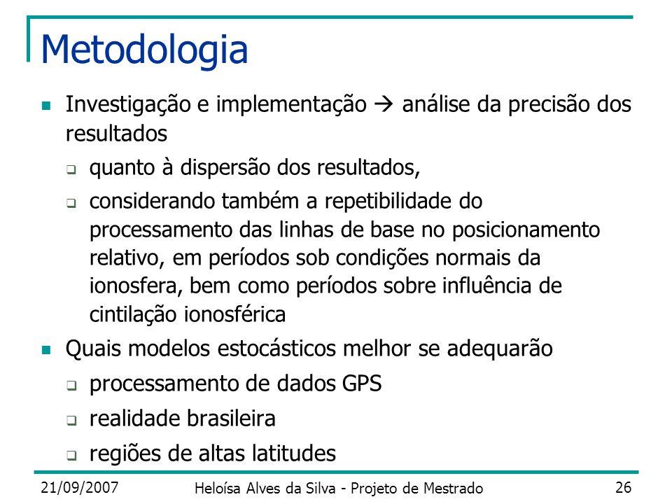 21/09/2007 Heloísa Alves da Silva - Projeto de Mestrado 26 Metodologia Investigação e implementação análise da precisão dos resultados quanto à disper