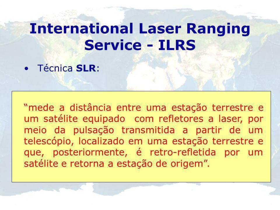 International Laser Ranging Service - ILRS 1969 determinação de distâncias precisas entre a Terra e a Lua LLR (Lunar Laser Ranging) e SLR (Satellite L