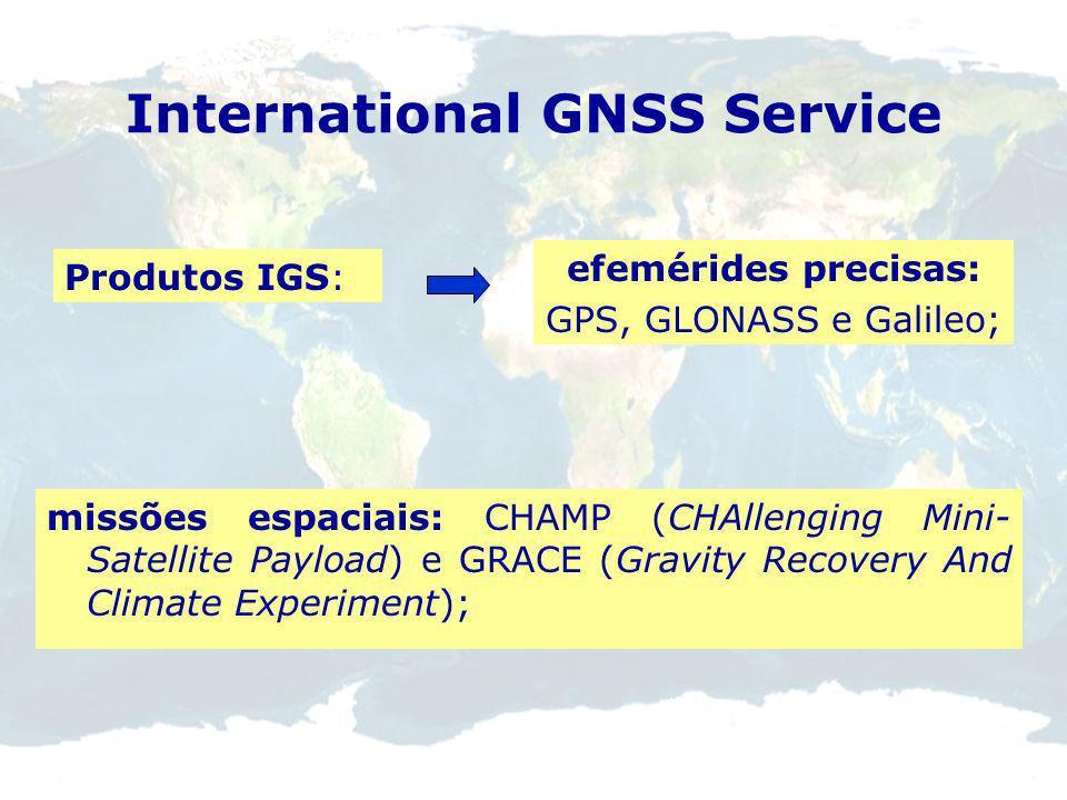 GNSS Brasília, Fortaleza e Cachoeira Paulista. Algumas das estações são coincidentes com pontos VLBI e SLR, garantindo uma boa rigidez à rede. Brasil: