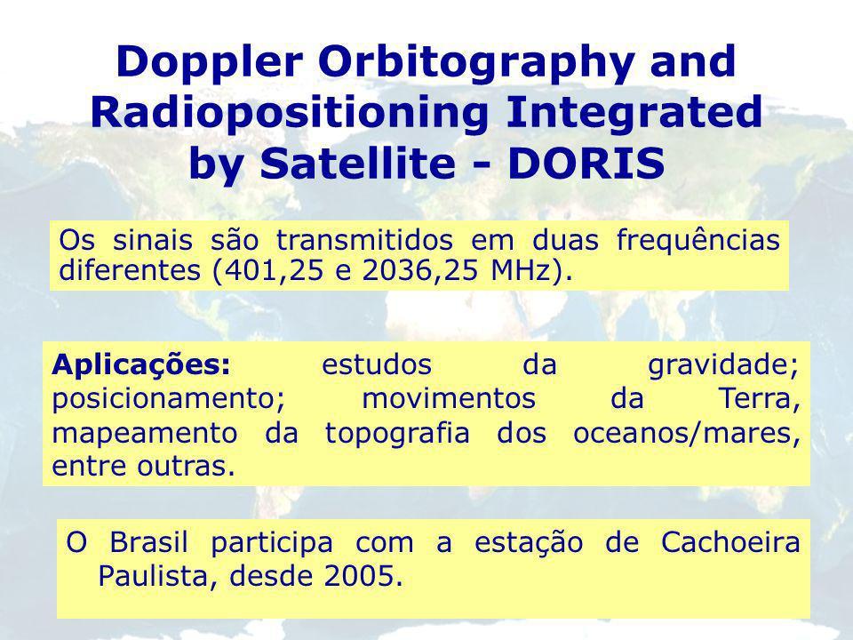 Doppler Orbitography and Radiopositioning Integrated by Satellite - DORIS Baseia-se em medidas exatas do deslocamento da frequência Doppler nos sinais