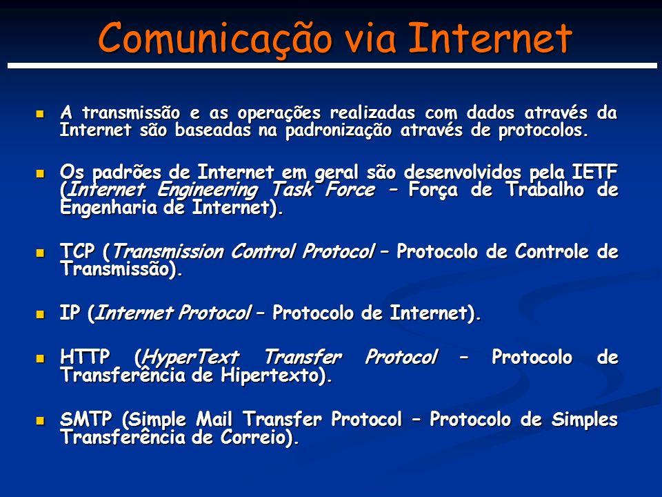 Comunicação via Internet A transmissão e as operações realizadas com dados através da Internet são baseadas na padronização através de protocolos.