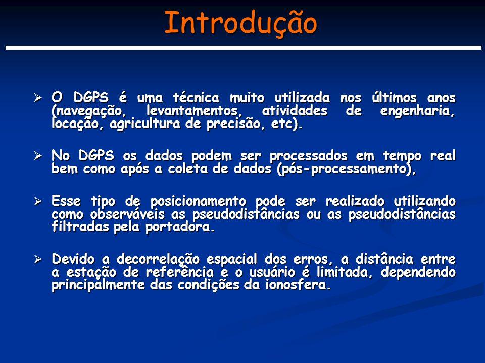 Introdução O DGPS é uma técnica muito utilizada nos últimos anos (navegação, levantamentos, atividades de engenharia, locação, agricultura de precisão, etc).