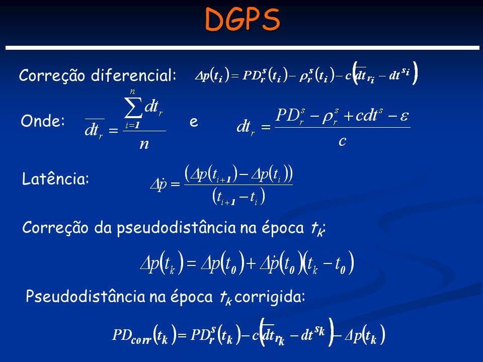 DGPS Correção diferencial: Onde:e Latência: Correção da pseudodistância na época t k : Pseudodistância na época t k corrigida: