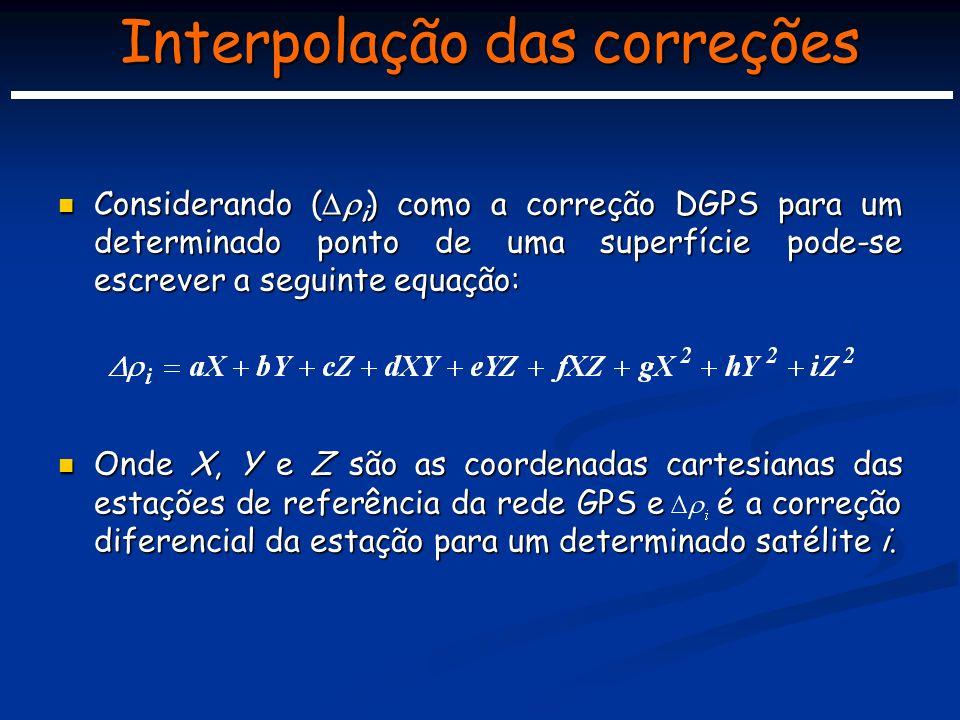 Interpolação das correções Considerando ( i ) como a correção DGPS para um determinado ponto de uma superfície pode-se escrever a seguinte equação: Considerando ( i ) como a correção DGPS para um determinado ponto de uma superfície pode-se escrever a seguinte equação: Onde X, Y e Z são as coordenadas cartesianas das estações de referência da rede GPS e é a correção diferencial da estação para um determinado satélite i.