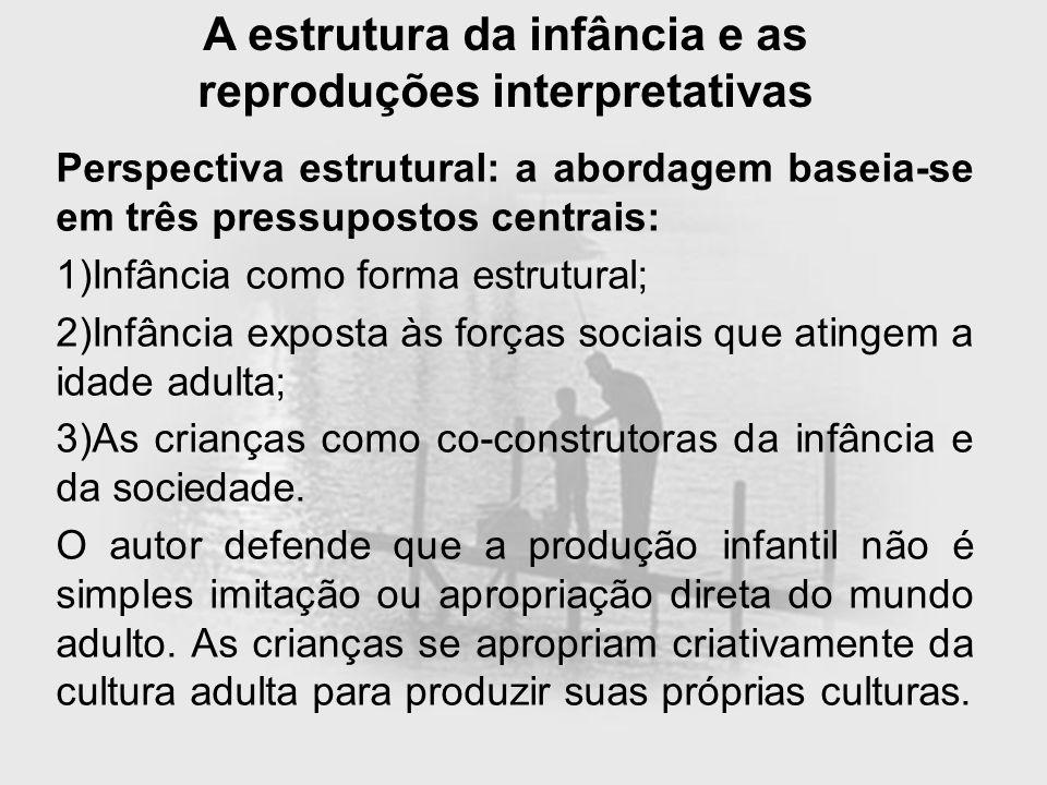 A estrutura da infância e as reproduções interpretativas Perspectiva estrutural: a abordagem baseia-se em três pressupostos centrais: 1)Infância como